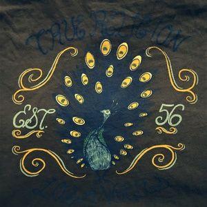 True Religion Girls Large V Neck Peacock T Shirt